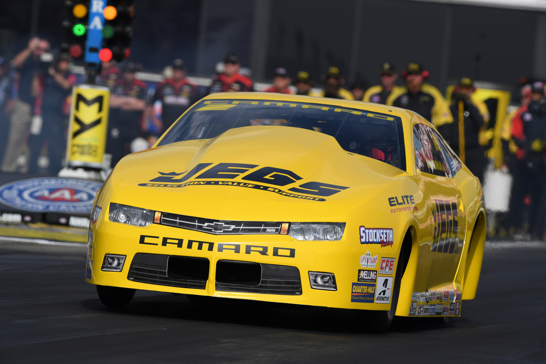 JEGS/Elite Performance Pro Stock driver Jeg Coughlin Jr. racing on Friday at the Auto Club NHRA Finals