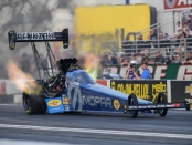 Mopar/Pennzoil Top Fuel Dragster Top Fuel Dragster pilot Leah Pritchett racing on Friday at the Auto Club NHRA Finals