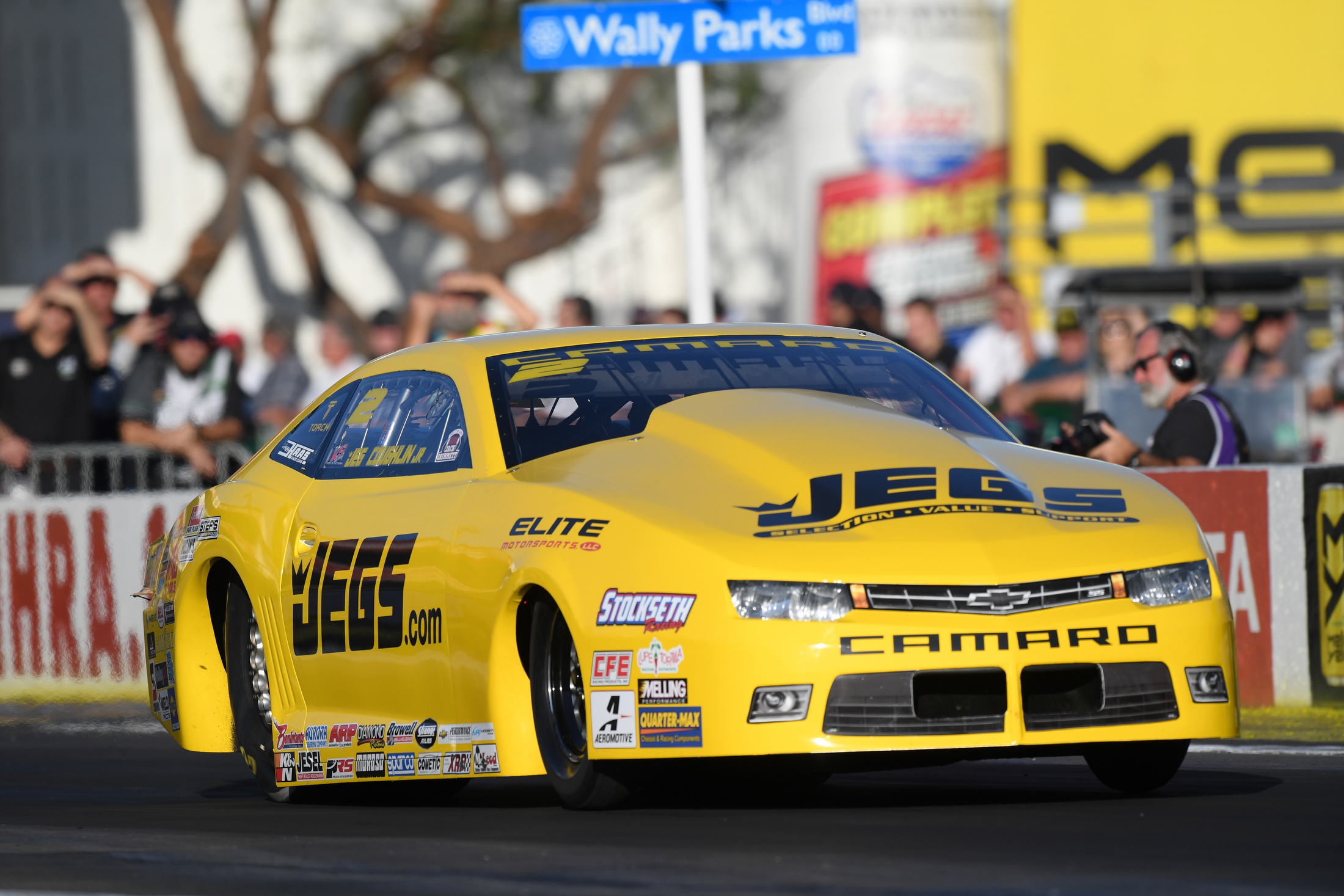 JEGS/Elite Performance Pro Stock driver Jeg Coughlin Jr. racing on Saturday at the Auto Club NHRA Finals