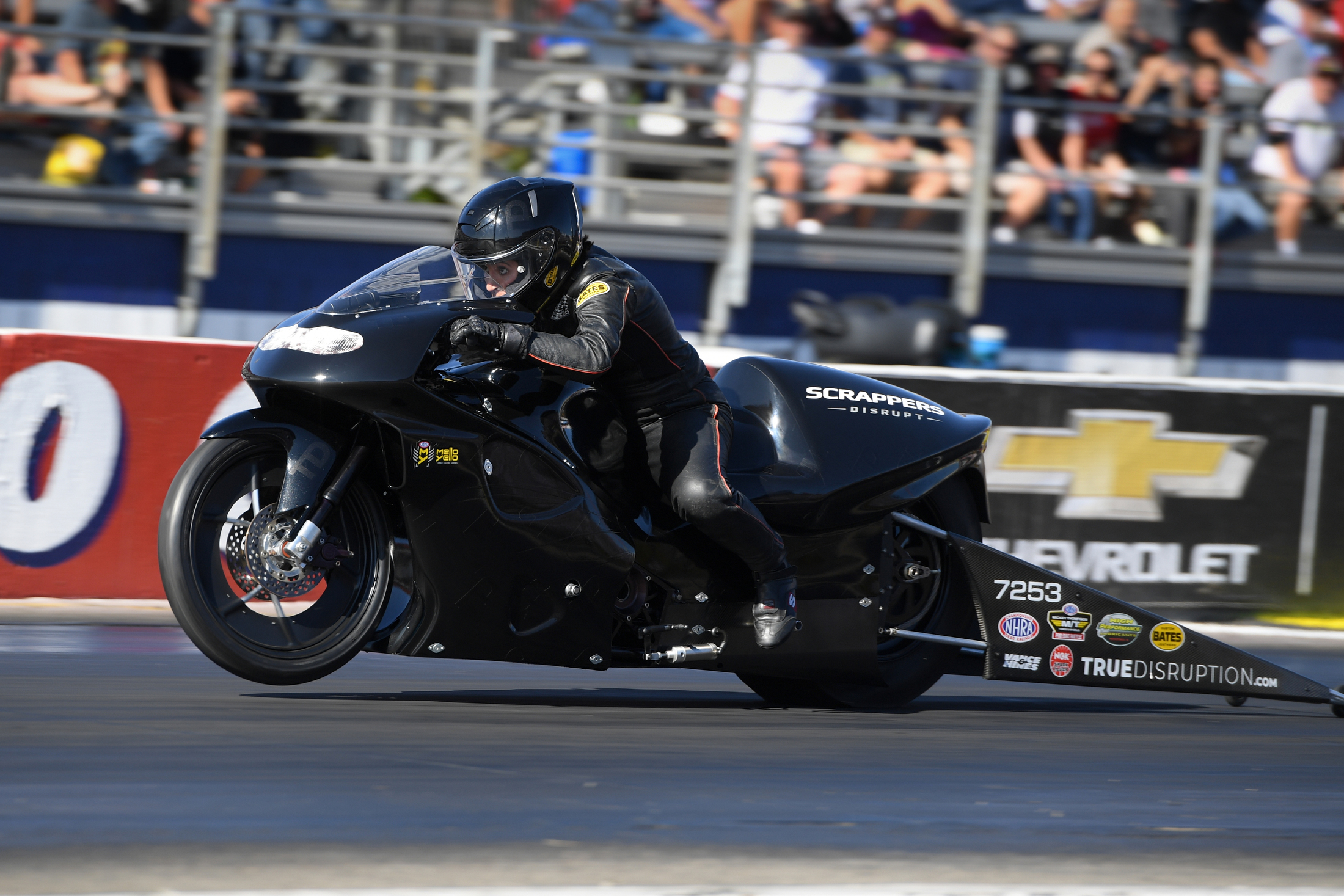 Scrappers Racing Pro Stock Motorcycle rider Jianna Salinas racing on Sunday at the Auto Club NHRA Finals