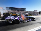 Infinite Hero Foundation Funny Car pilot Jack Beckman racing on Sunday at the Auto Club NHRA Finals