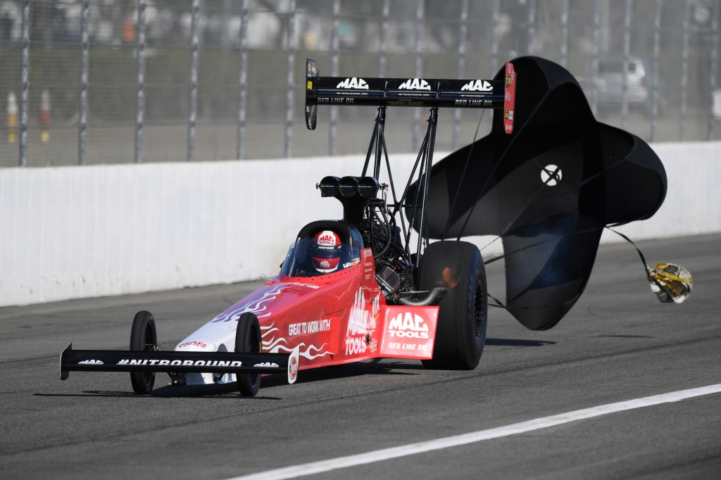 Mac Tools Top Fuel Dragster pilot Doug Kalitta racing on Sunday at the Auto Club NHRA Finals