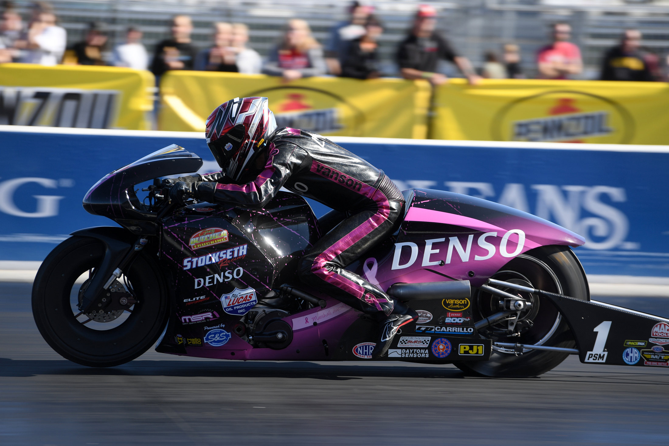 Denso Pro Stock Motorcycle rider Matt Smith racing on Friday at the Dodge NHRA Nationals presented by Pennzoil