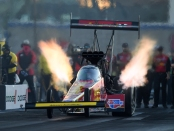 Advance Auto Parts Top Fuel Dragster pilot Brittany Force racing on Friday at the Dodge NHRA Nationals presented by Pennzoil