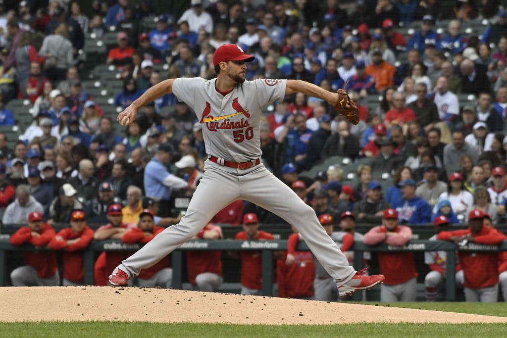 St. Louis Cardinals pitcher Adam Wainwright pitches against the Chicago Cubs