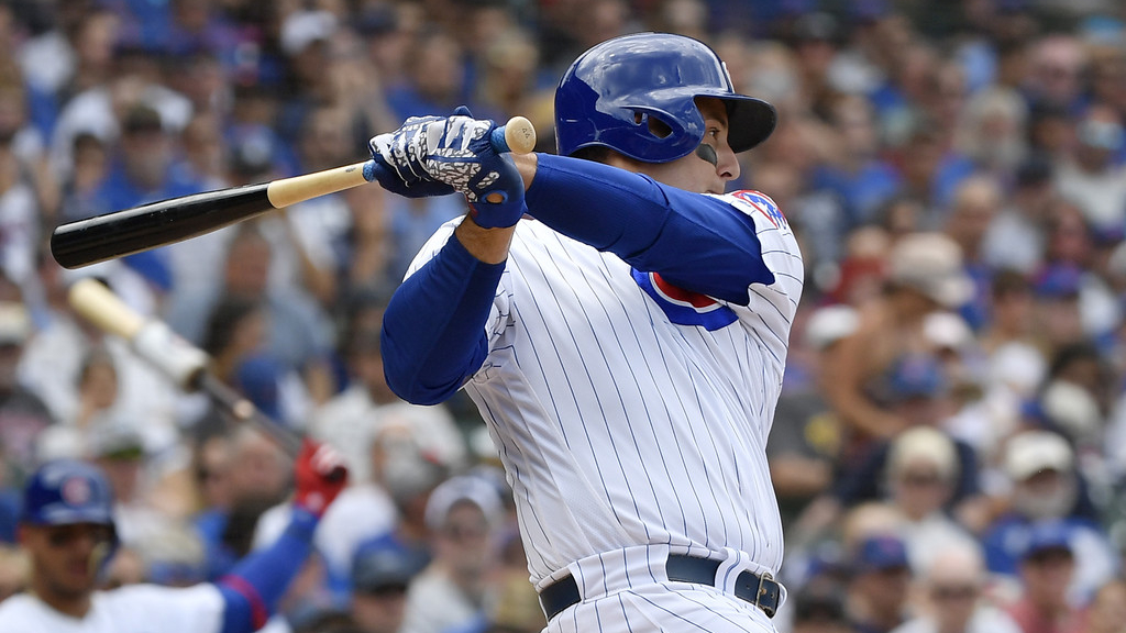 Chicago Cubs first baseman Anthony Rizzo hits an RBI single against the Pittsburgh Pirates