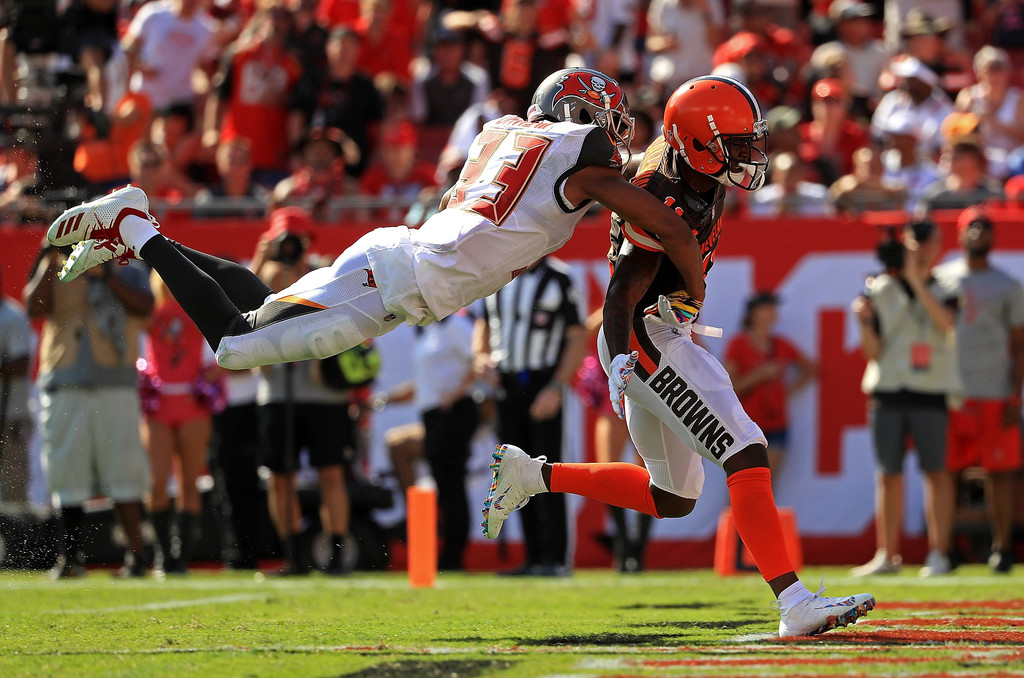 Former Cleveland Browns wide receiver Antonio Callaway is fouled by Carlton Davis against the Tampa Bay Buccaneers