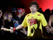 Former One Championship fighter Ben Askren enters the ring before his fight against Bakhtiyar Abbasov during OneFC Honor & Glory