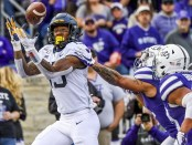 West Virginia wide receiver George Campbell caught a reception against the Kansas State Wildcats