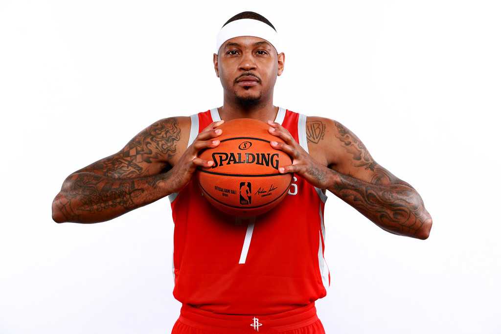 Former Houston Rockets forward Carmelo Anthony poses for a portrait during the Houston Rockets 2018 Media Day