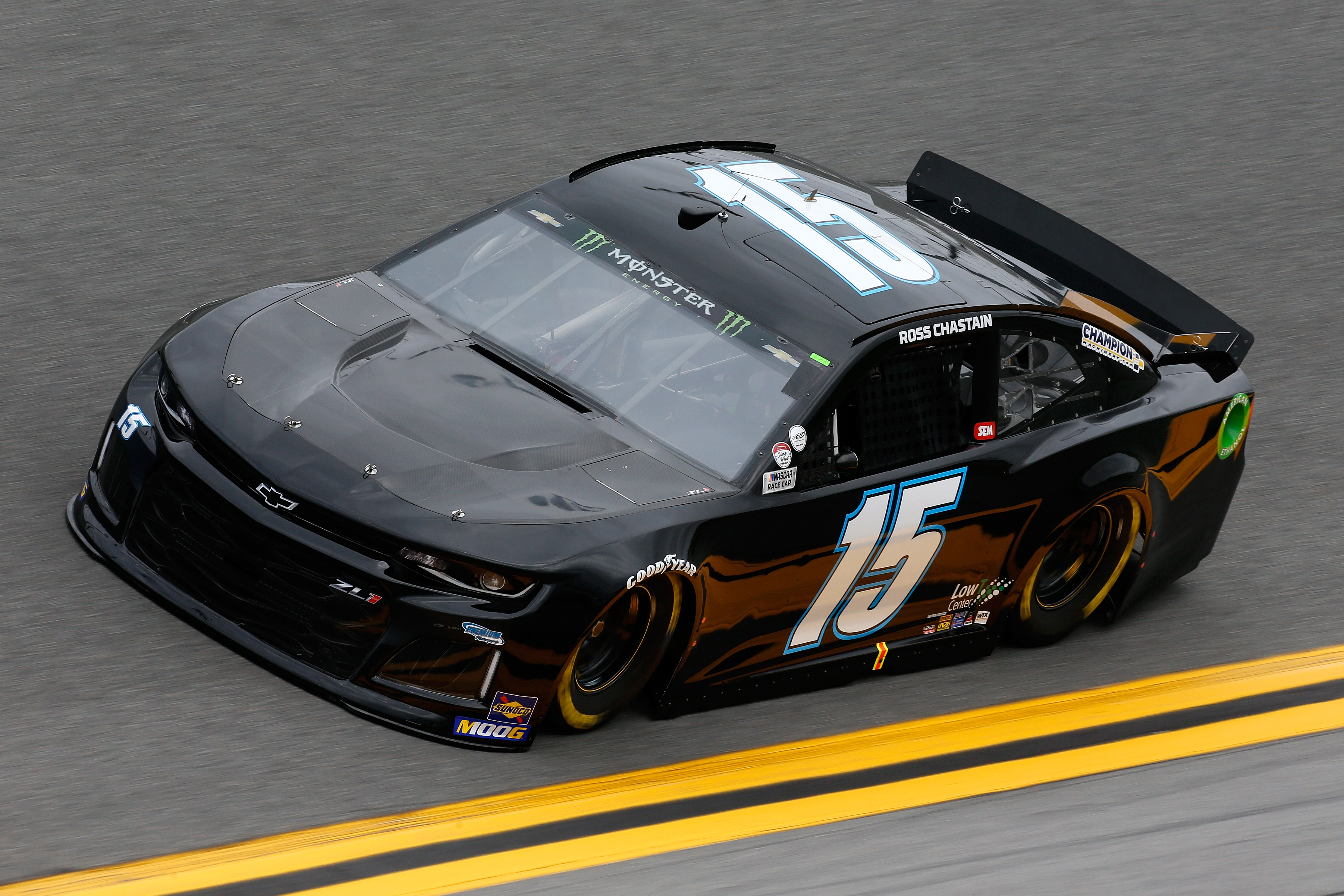 Driver Ross Chastain drives the No. 15 car during practice for the Monster Energy Cup Series 61st Annual Daytona 500