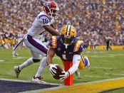 LSU Tigers wide receiver Ja'Marr Chase dives for a touchdown against Louisiana Tech Bulldogs