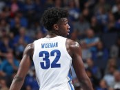 Memphis Tigers center James Wiseman looks down the court against the South Carolina State Bulldogs