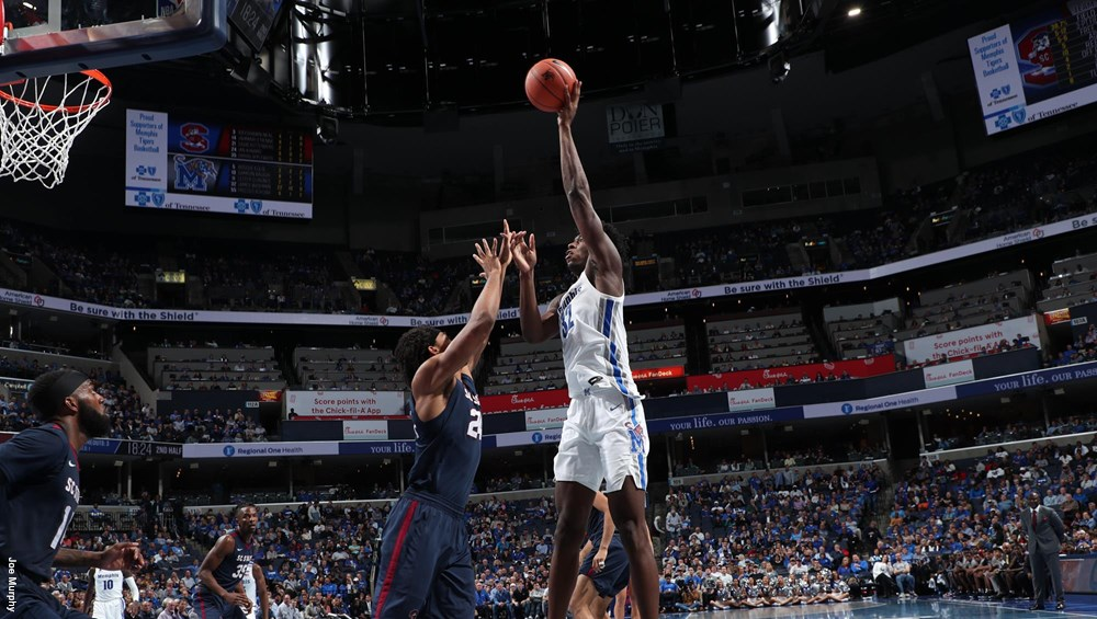 Memphis Tigers center James Wiseman attempting a shot against the South Carolina State Bulldogs