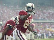 Oklahoma Sooners wide receiver Lee Morris points to the crowd after scoring a touchdown against the Baylor Bears