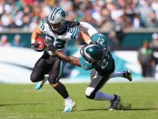 Philadelphia Eagles safety Malcolm Jenkins attempts to tackle Christian McCaffrey against the Carolina Panthers