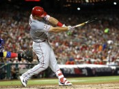 Los Angeles Angels outfielder Mike Trout hits a solo home run in the 89th MLB All-Star Game presented by MasterCard against the National League