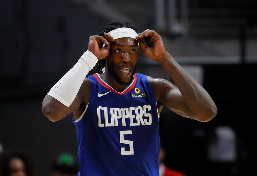 Los Angeles Clippers forward Montrezl Harrell reacts after drawing a foul on a basket against the Atlanta Hawks