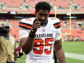 Cleveland Browns defensive end Myles Garrett walks off the field against the New York Jets
