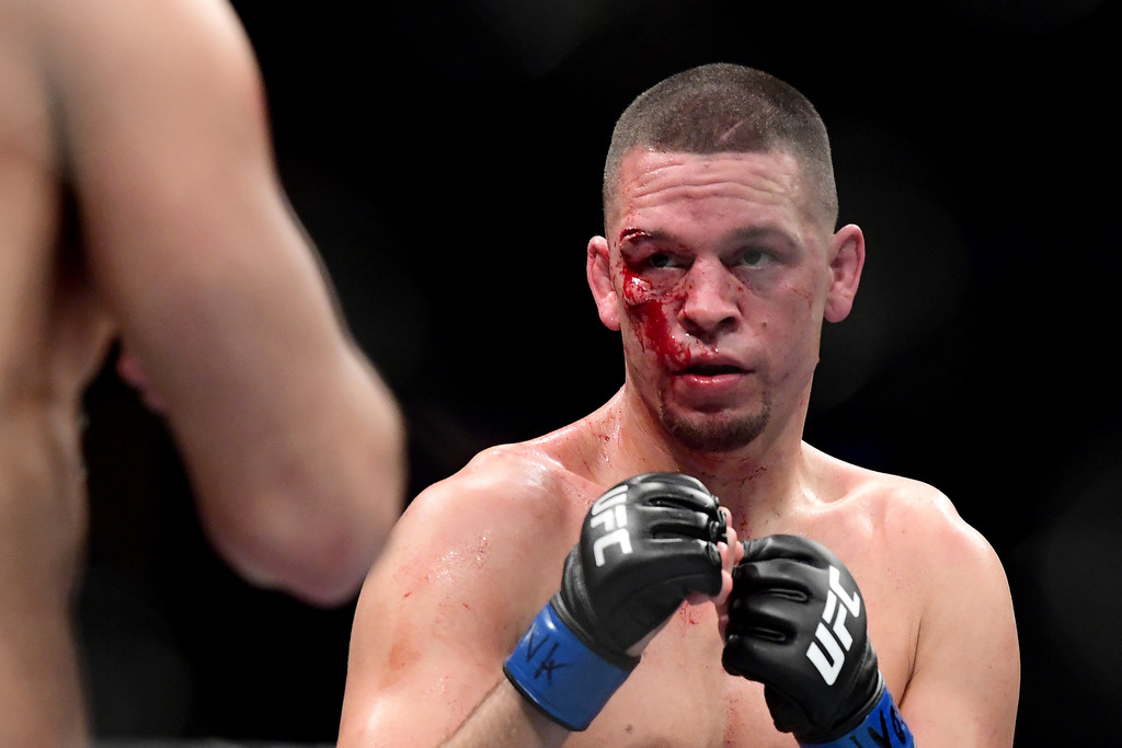 UFC fighter Nate Diaz fighting Jorge Masvidal with a cut over his eye at UFC 244