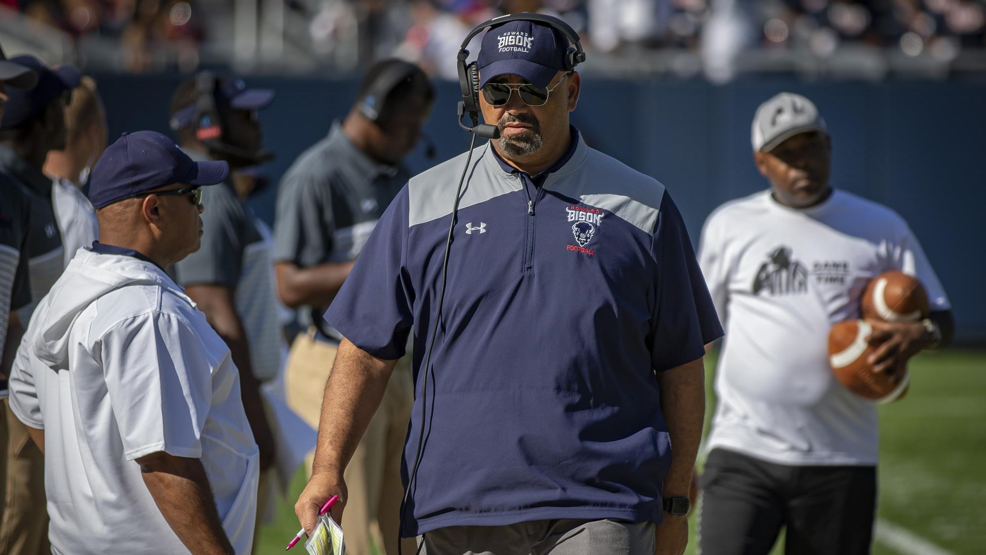 Howard Bison head football coach Ron Prince walking the sidelines during a 2019 College Football game