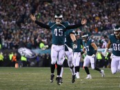 Philadelphia Eagles long snapper Rick Lovato celebrates a third quarter touchdown against the Minnesota Vikings in the 2018 NFC Championship game