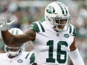 Former New York Jets wide receiver Terrelle Pryor celebrates a touchdown against the Indianapolis Colts