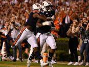 Auburn Tigers linebacker Zakoby McClain after his 100-yard interception return for a touchdown against the Alabama Crimson Tide