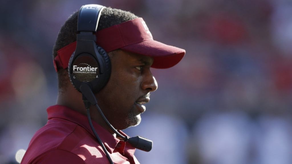 Former Florida State Seminoles head coach Willie Taggart looks on against the Louisville Cardinals in the third quarter