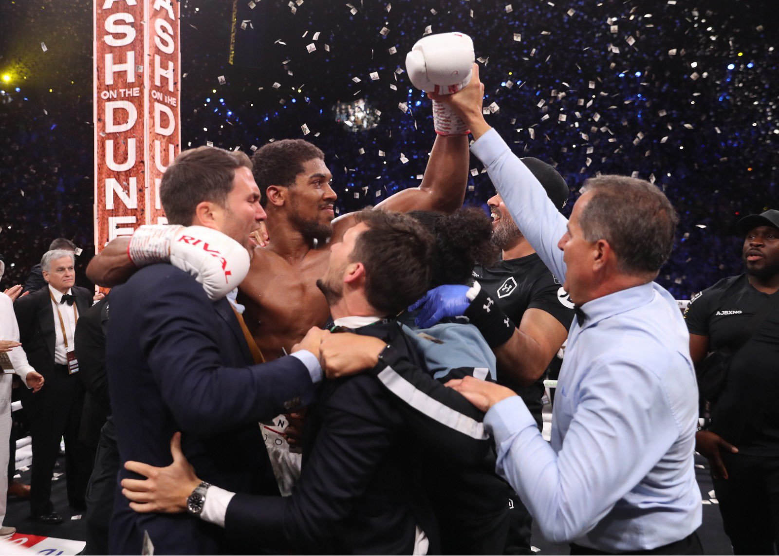 Professional boxer Anthony Joshua celebrating his unanimous decision win over Andy Ruiz Jr.