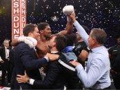 Professional boxer Anthony Joshua celebrating his unanimous decision win over Andy Ruiz Jr.