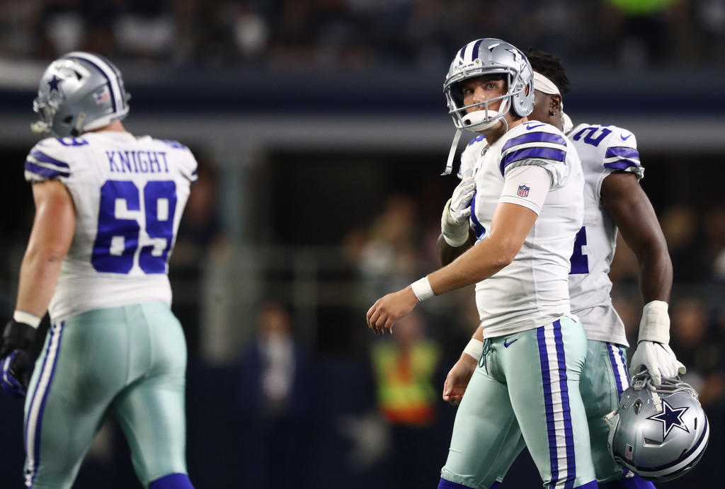Former Dallas Cowboys kicker Brett Maher walks off the field after missing a field goal in the fourth quarter against the Green Bay Packers