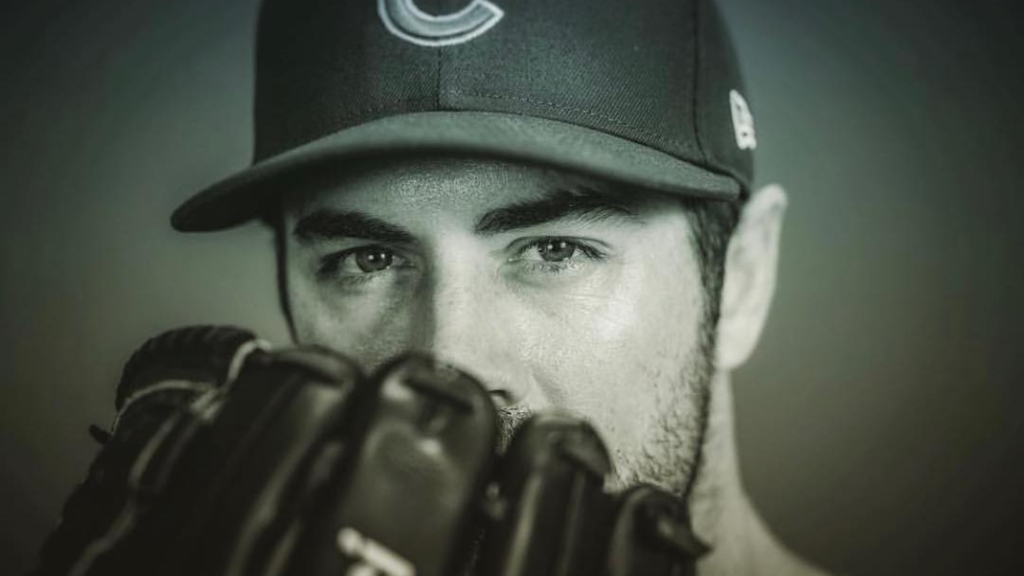 Chicago Cubs pitcher Cole Hamels poses for a portrait during the team's 2019 Media Day