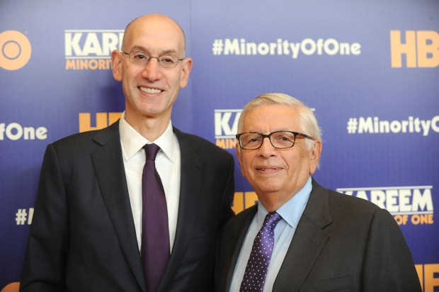"NBA Commissioner Adam Silver and former NBA Commissioner David Stern attend the ""Kareem: Minority Of One"" premiere"