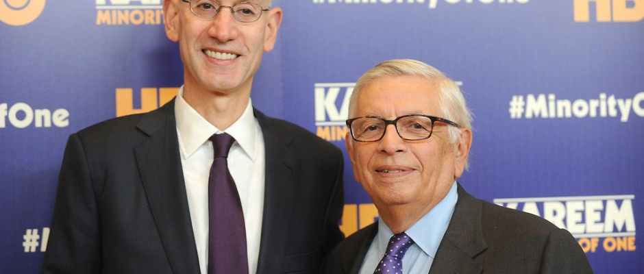 """NBA Commissioner Adam Silver and former NBA Commissioner David Stern attend the """"Kareem: Minority Of One"""" premiere"""