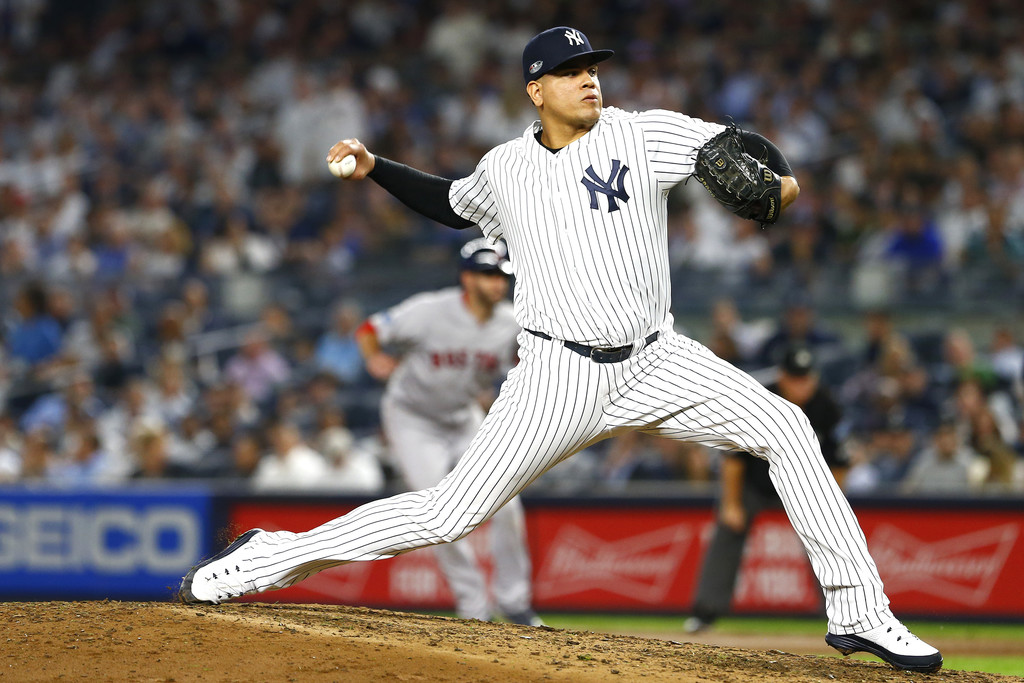 Former New York Yankees pitcher Dellin Betances throws a pitch against the Boston Red Sox during Game Four of the 2018 American League Division Series