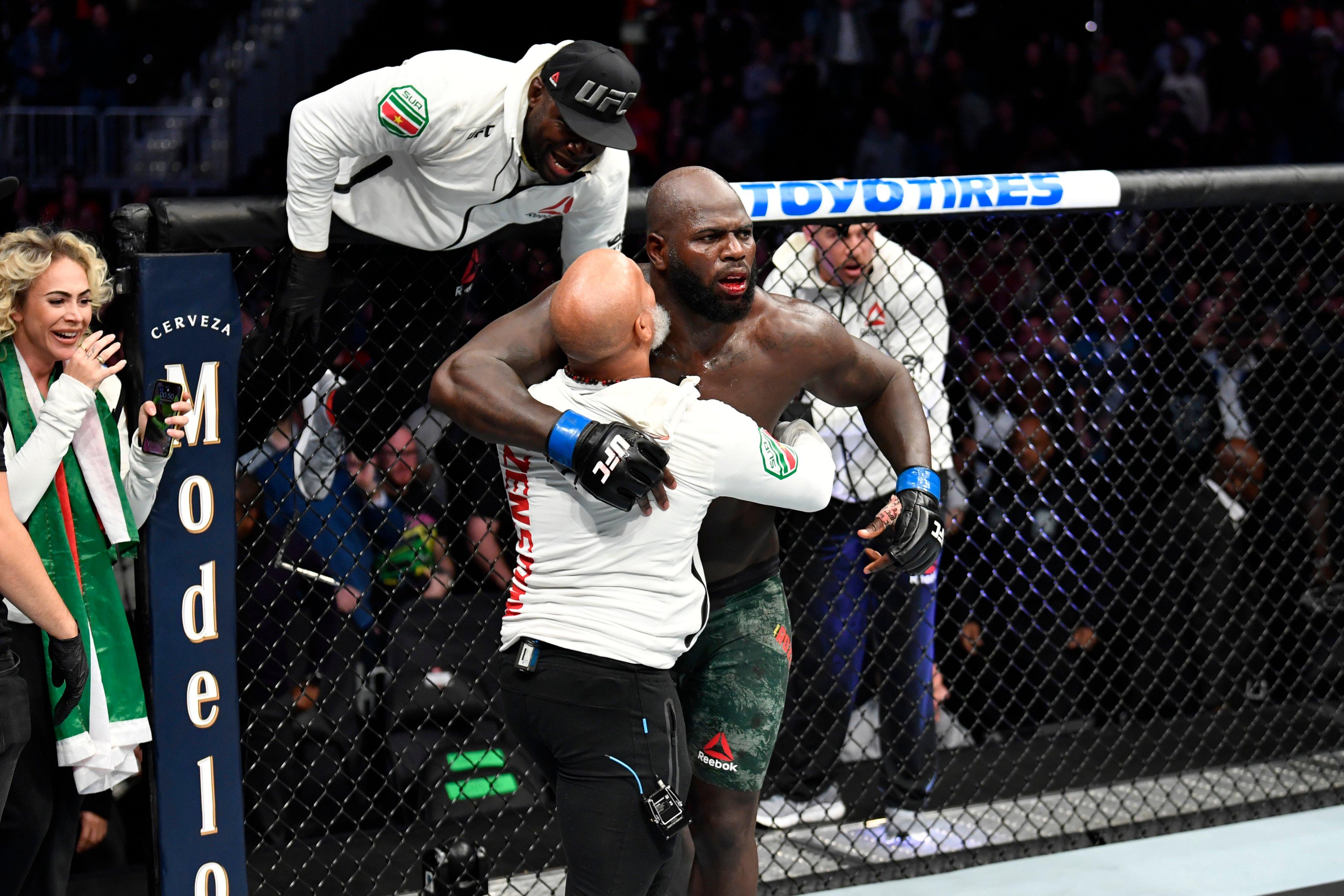 UFC Heavyweight fighter Jairzinho Rozenstruik celebrates his win over Alistair Overeem at UFC on ESPN 7