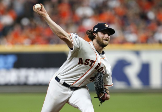 Former Houston Astros pitcher Gerrit Cole pitches against the Tampa Bay Rays in Game 2 of the 2019 ALDS