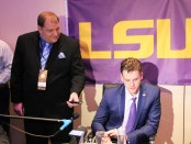 LSU Tigers quarterback Joe Burrow is being interviewed by our Publisher Anthony Caruso III at the 2019 Heisman Trophy ceremony