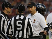 Iowa State Cyclones head coach Matt Campbell argues a call to referees against the West Virginia Mountaineers