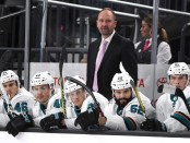 Former San Jose Sharks head coach Peter DeBoer behind the bench against the Vegas Golden Knights