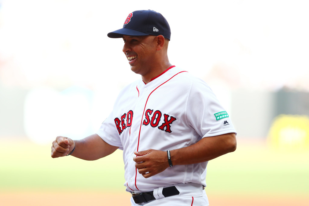Former Boston Red Sox manager Alex Cora smiles before the MLB London Series against the New York Yankees