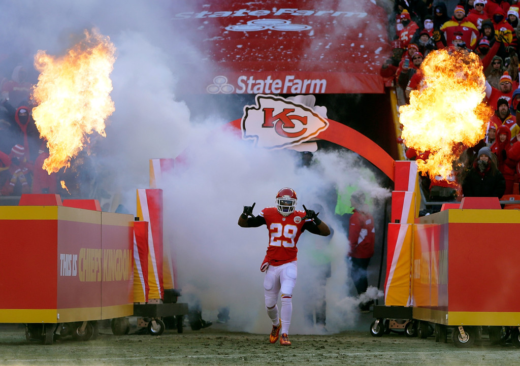 Former Kansas City Chiefs safety Eric Berry is introduced prior to the game against the Tennessee Titans