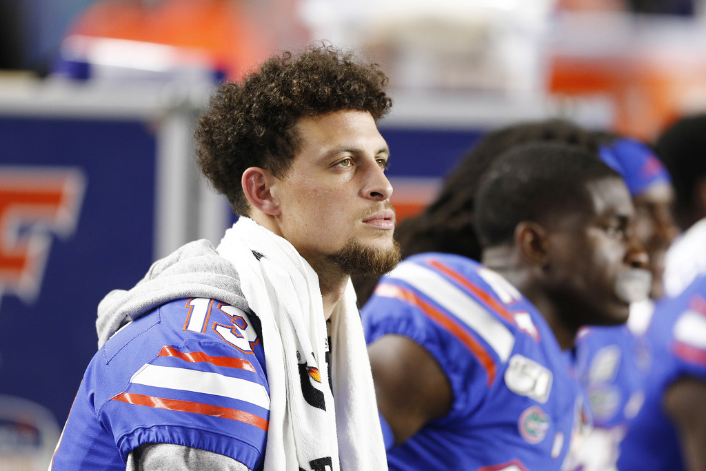 Former Florida Gators quarterback Feleipe Franks looks on against the Virginia Cavaliers during the first half of the 2019 Capital One Orange Bowl