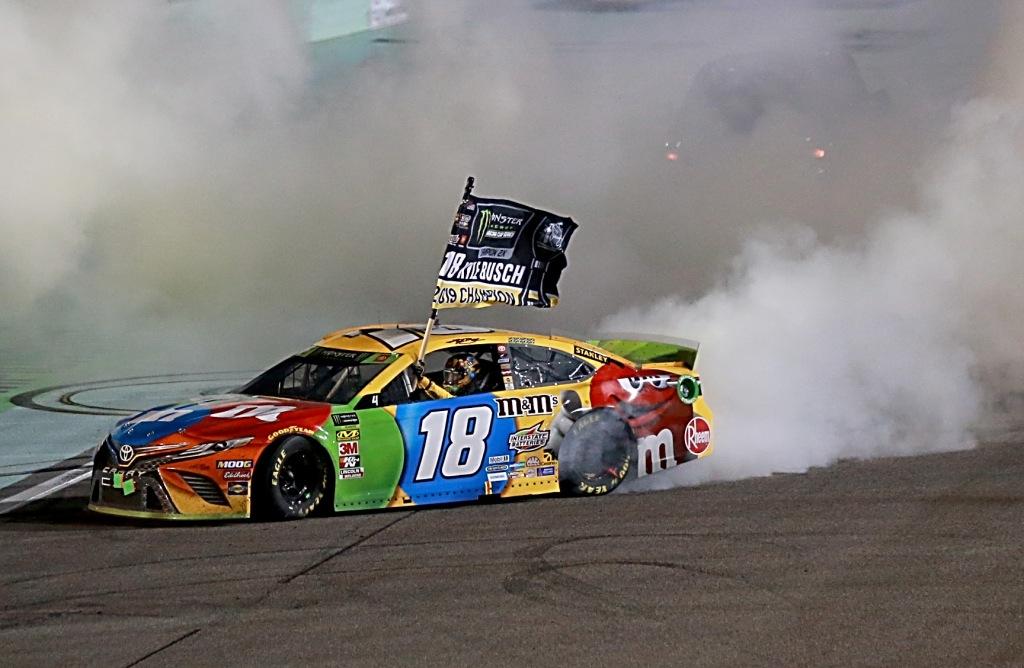 Joe Gibbs Racing driver Kyle Busch after winning the Monster Energy NASCAR Cup Series Championship and the Monster Energy NASCAR Cup Series Ford EcoBoost 400