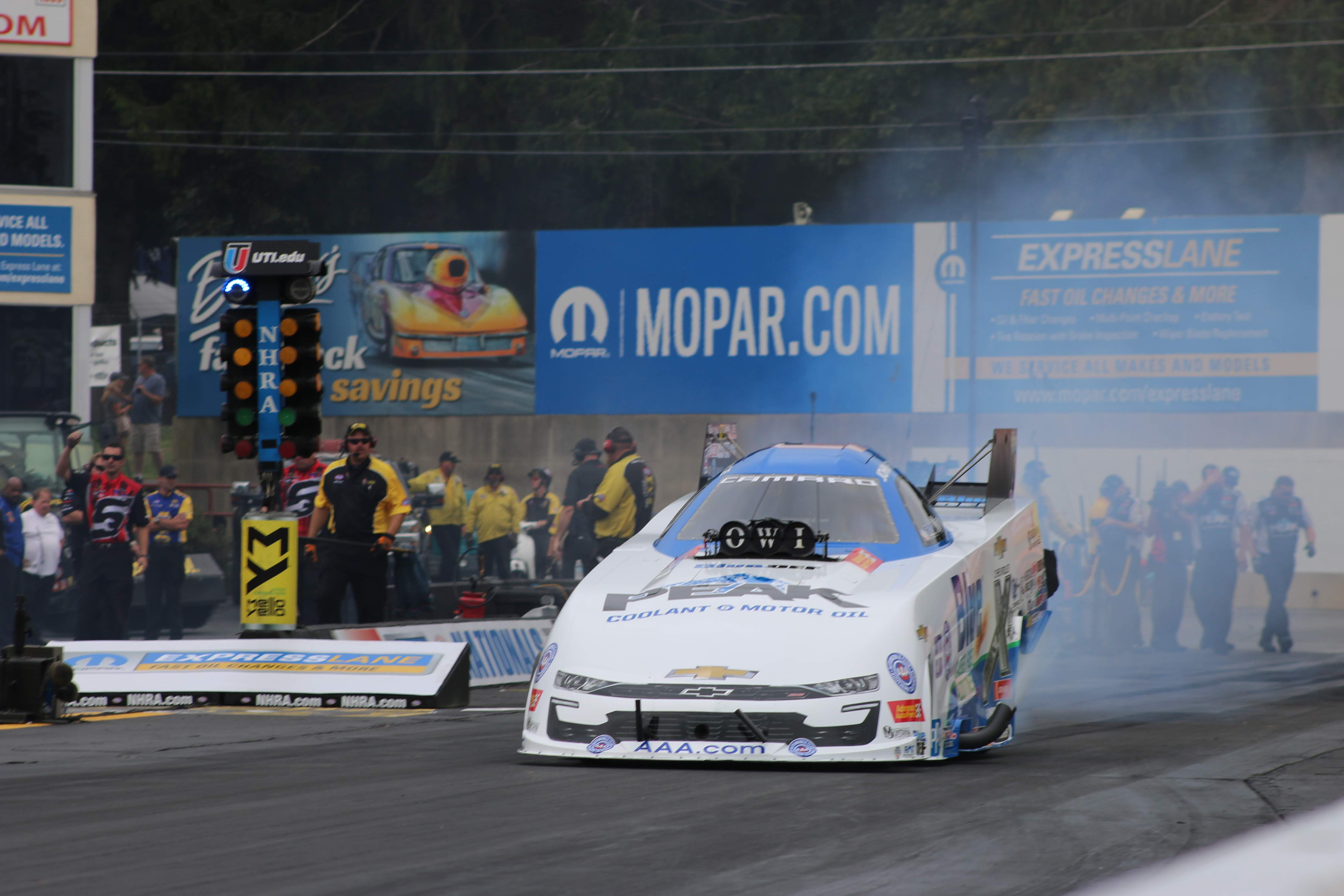 Living legend Funny Car driver John Force competing in the Mopar Express Lane NHRA Nationals presented by Pennzoil