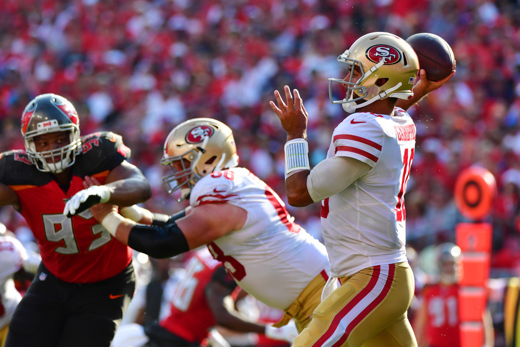 San Francisco 49ers quarterback Jimmy Garoppolo attempts a pass against the Tampa Bay Buccaneers