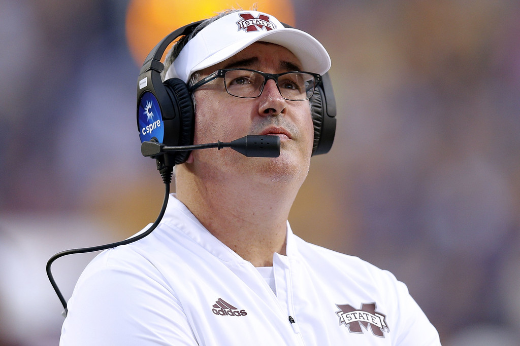Former Mississippi State Bulldogs head coach Joe Moorhead reacts to a call against the LSU Tigers