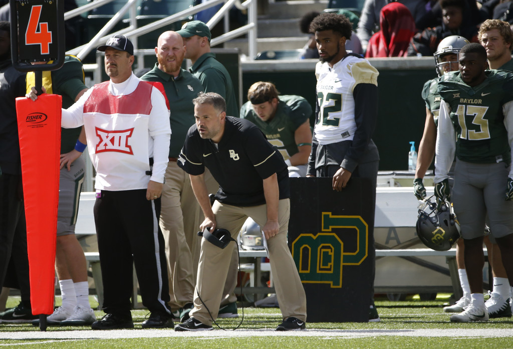 Former Baylor Bears head coach Matt Rhule looks on against the Texas Longhorns