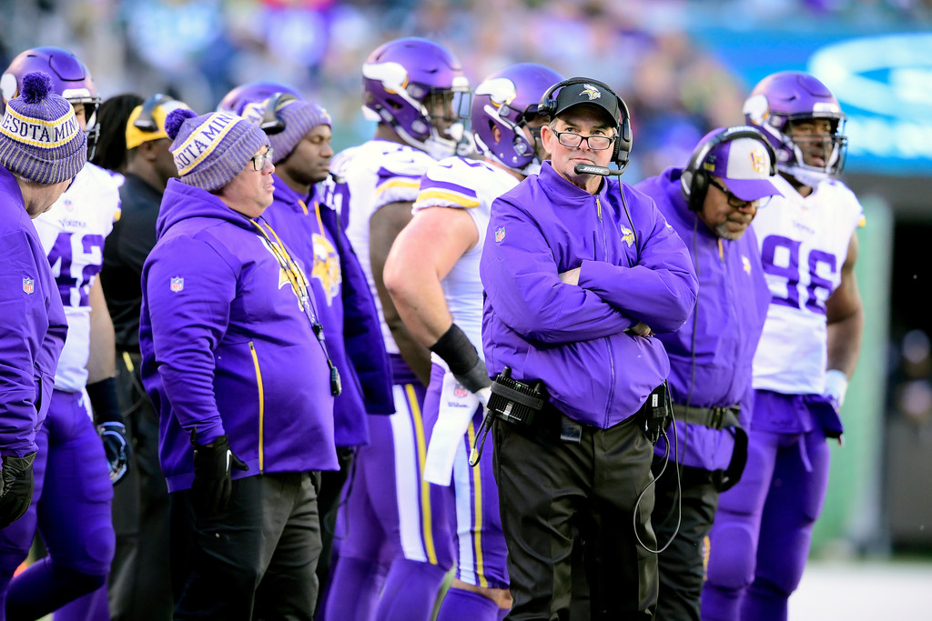 Minnesota Vikings head coach Mike Zimmer looks on against the New York Jets